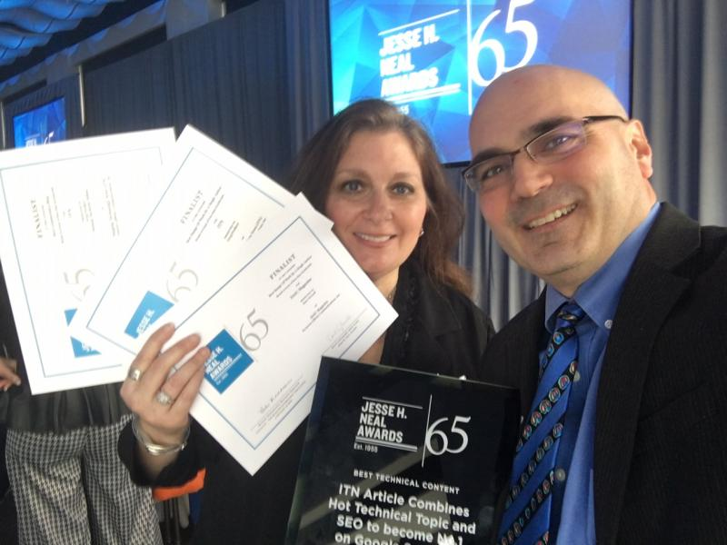 ITN Editorial Director Melinda Taschetta-Millane and Editor Dave Fornell at the  Jesse H. Neal Awards in New York City.