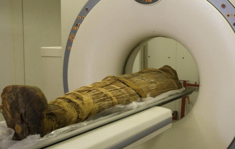 Mummy in a CT scanner.
