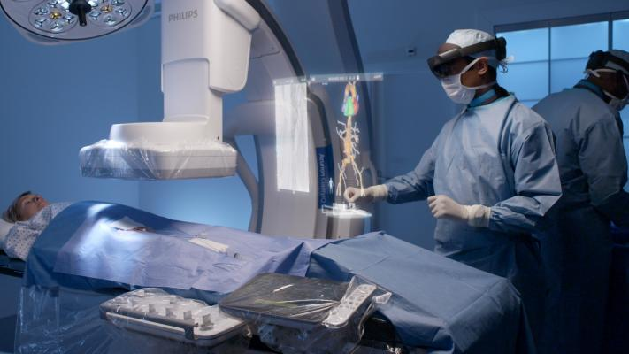 The use of augmented and virtual reality in the interventional suite, cath lab, interventional lab, and hybrid OR.