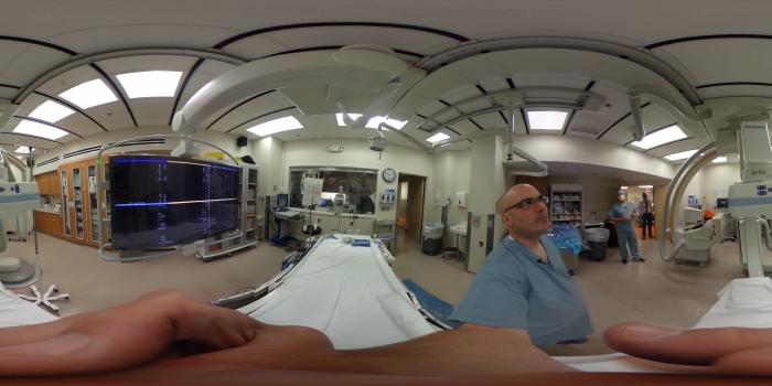 360 degree view inside an Interventional radiology lab at Henry Ford Hospital used for neuro-interventions and stroke.