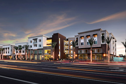 affordable housing_market-rate housing_Clark Commons street elevation dusk