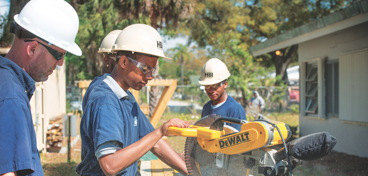 Construction jobs training_Home Builders Institute students at work_photo courtesy HBI