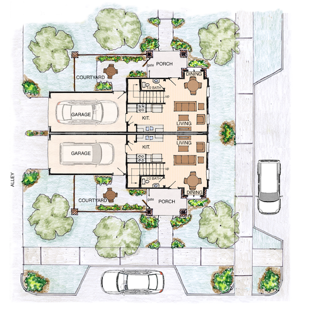 Larry Garnett New Urbanism Front Street duplex plan