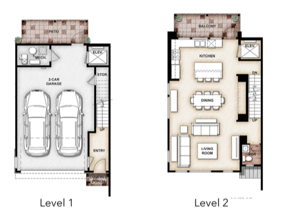 2019 Professional Builder Design Awards Gold Multifamily The Rouge at Pivot floor plans levels 1 and 2