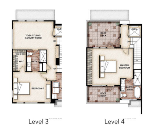 2019 Professional Builder Design Awards Gold Multifamily The Rouge at Pivot floor plans levels 3 and 4