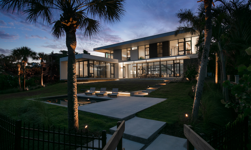 2019 Professional Builder Design Awards Project of the Year Gold outdoor living at night