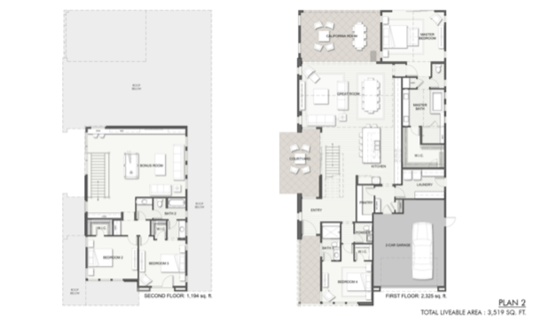 2019 Professional Builder Design Awards Silver Single Family over 3100 sf Miraval II floor plans