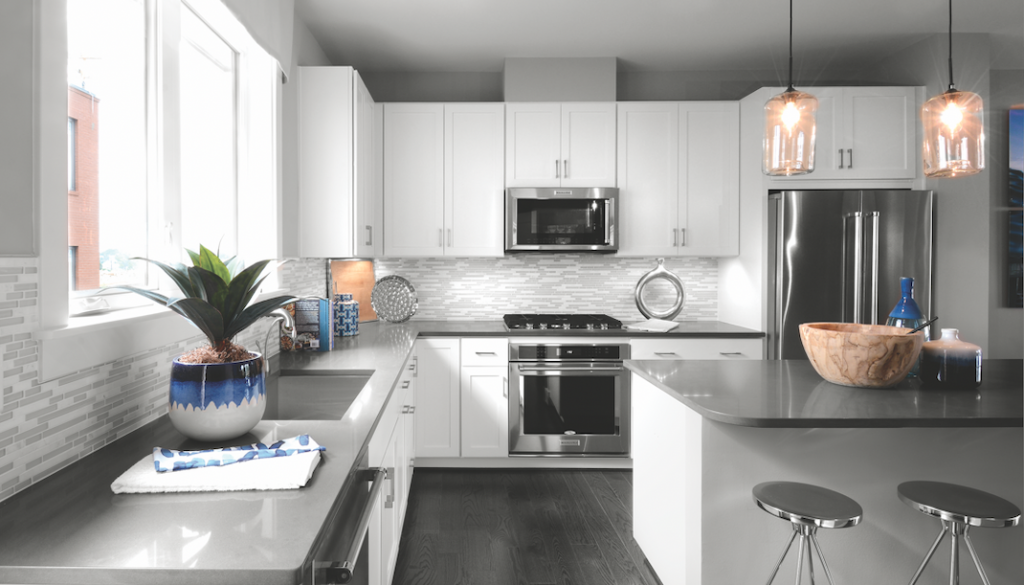 EYA's Westside at Shady Grove offers interiors (kitchen, shown) that live larger than their square footage.