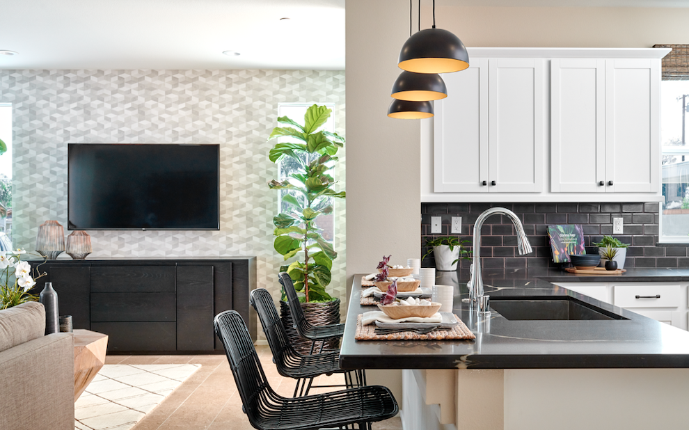 The kitchen-living area in the Centerhouse development by Trumark Homes.