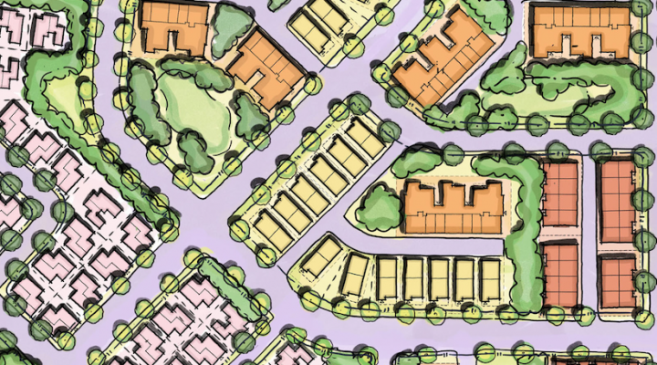 DTJ Design's Narrow Lot Plan 2 site plan is an example of New Urbanism