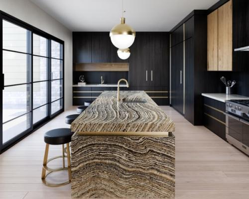 The Woodstone and Black Marble Collections from Cambria claim to be an industry-first in quartz design—emphasizing wood grain movement and tones in profiles like Clairidge (shown) and Golden Dragon. Black Marble welcomes six new rich, moody, dark designs into its line, while Woodstone's arboreal aesthetic has three new design styles. All profiles are available in matte or high-gloss finishes.