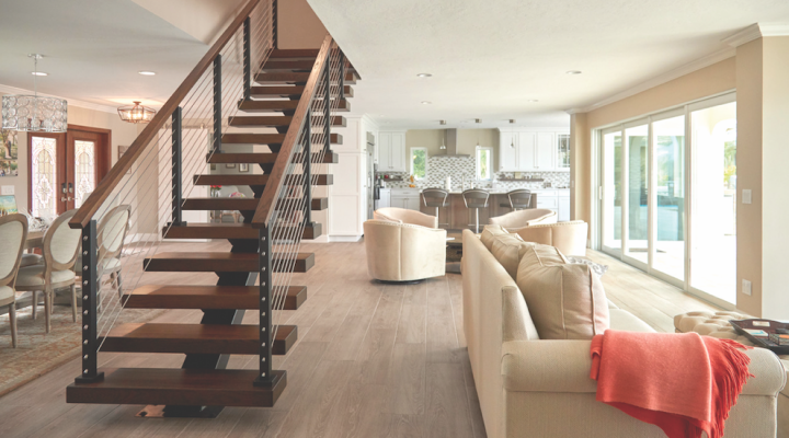 Viewrail floating stairs in home interior