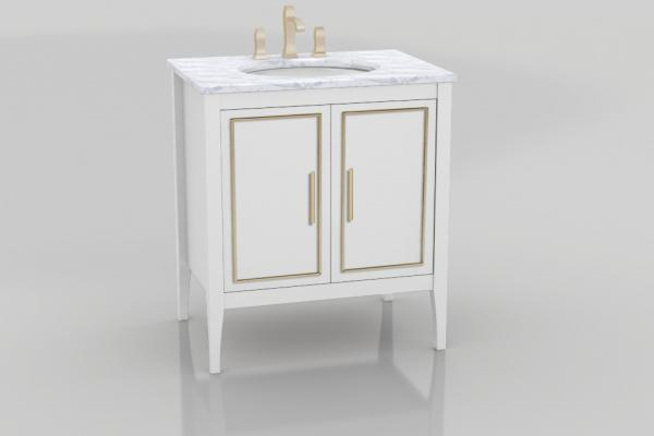 Three long drawer fronts with metallic trim cut an elegant figure inThe Furniture Guild's latest transitional vanity, Lydia. With double drawer pullouts hidden behind non-sink doors and a third pullout for added storage, the vanity is sized from 24 to72 inches wide in single- or double-bowl configurations, with optional glass dividers and LED lights.