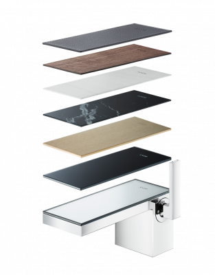 """The MyEdition collection of faucets and tub fillers from AXOR by Hansgrohe SE pairs a new """"tailor-made"""" line of faucet bodies with seven unique cover plates developed collaboratively with creative studio Phoenix Design of Germany."""