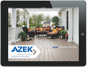 Screenshot of the Azek iPad app at work.