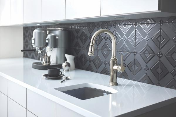 Empressa kitchen faucet collection, emphasizing silhouettes influenced by the form of vintage European wine presses