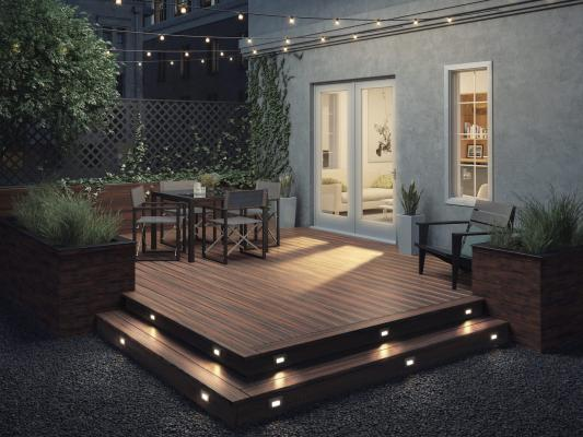 Deckorators by Hinkley Lighting, a new line for outdoor living that offers a wide selection of 12-volt LED post cap, step light