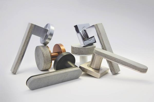 The Bullet & Stone Collection from Australian company Designer Doorware marries concrete and metal in doorhandles and round knob profiles, melding hot and cold aesthetics and offering a unique tactile experience. The solid brass fittings that back each concrete form are finished in either Florentine Bronze (in a Medium or Dark tone), Polished Nickel, or Satin Black Chrome. Custom finishes for the concrete are available by request.