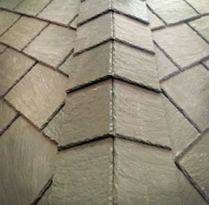 close-up photo of Ply Gem's Hinged Hip and Ridge Shingles that conform to any roof ridge.