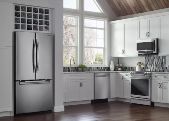 Kitchen with built-in-refrigerator