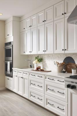 The Grace Collection, inspired by manufacturer Top Knobs' most successful designs over the past 25 years, consists of 276 pieces, including appliance pulls, knobs, and door pulls, in six series: Kent (shown), Barrow, Henderson, Minetta, Pomander, and Riverside. All hardware is available in six finishes: Ash Gray, Brushed Satin Nickel, Flat Black, Honey Bronze, Polished Chrome, and Polished Nickel.