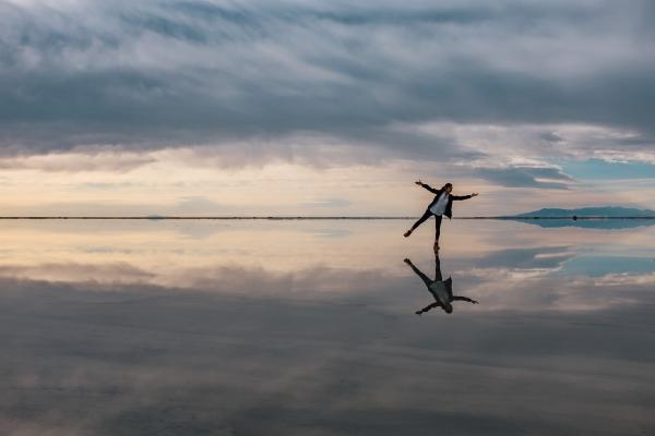 Person dancing on water