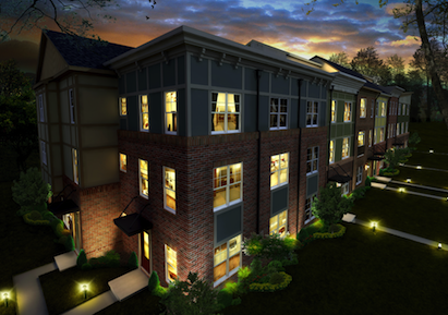 Building information modeling rendering example, night view