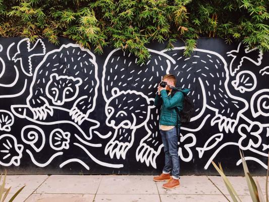 Man taking photo by mural