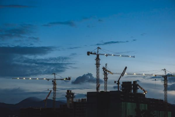 Construction site at twilight