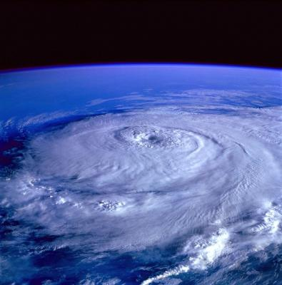 Satellite view of a hurricane from space