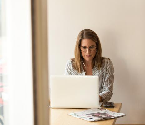 Woman at desk working