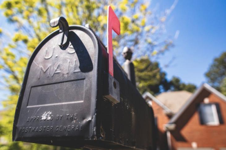U.S. mailbox outside a single-family home