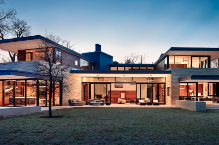 Aamodt Plumb Architects, Prairie-style contemporary new home, lakeside elevation