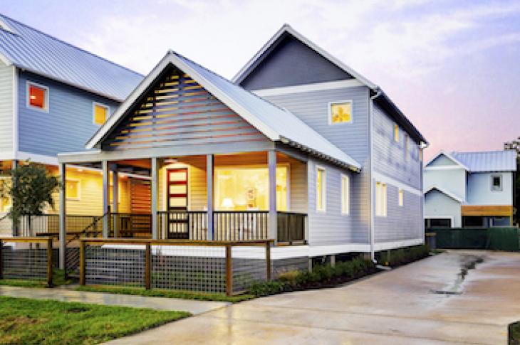 A. Becker at Porch Street on Adele, Houston; Builder: Southern Green Builders, Houston; Architect: CONTENT Architecture, Houston; Photographer: TK Images