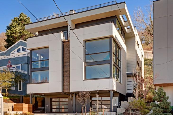 Exterior of Alki Point rowhomes in Seattle