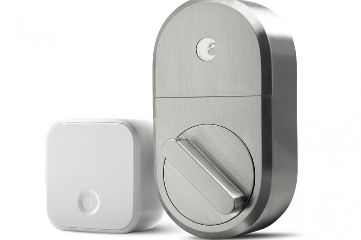 August smart lock in satin nickel finish