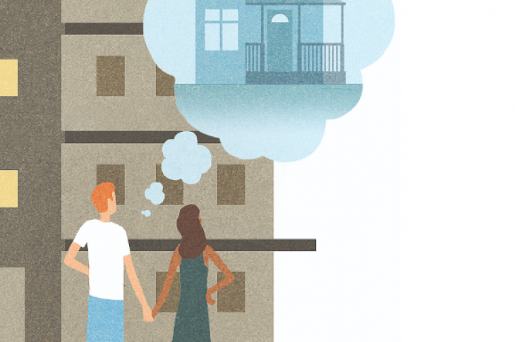 First-time homebuyers dream of their new home, illustration by Michael Kirkham