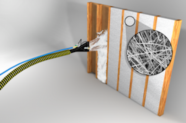 Close-up view of interlocking fibers in Johns Manville JM Spider Plus Blow-in Insulation.