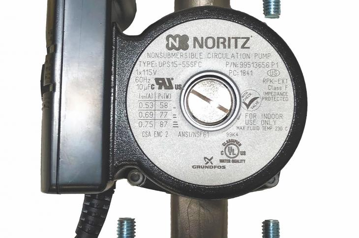 To extend water-saving capabilities for its array of tankless residential models, Noritz has released its RPK-EXT External Pump Kit for recirculation. Available as a separate add-on component to 26 additional Noritz residential models beyond its NRCP line of condensing tankless water heaters, the kit includes a sensor to monitor the hot-water line and automatically turn off the circulator once it hits the preset temperature. The kit also uses a dedicated return line to send water that's sitting in the line