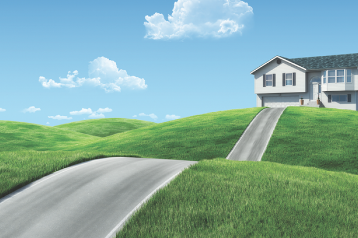 Illustration of a road leading to a house on a hill_sellingpix / stock.adobe.com