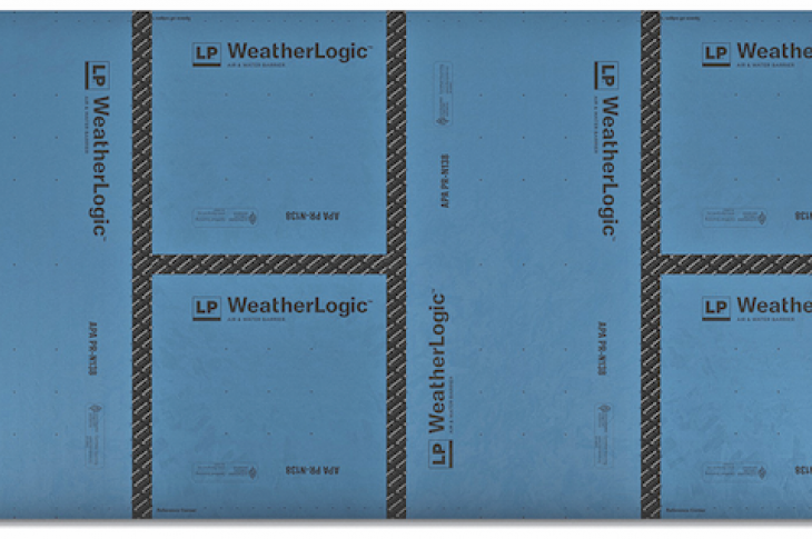 LP's WeatherLogic Air & Water Barrier system consists of 4-by-8-foot engineered wood structural wall panels with a weather-resistant overlay permanently integrated to protect against tearing. The panels install as easily as regular sheathing, LP says. Upon fastening, seams are secured with advanced acrylic tape with AAMA 711-13-approved adhesive. IBS Booth C3810.