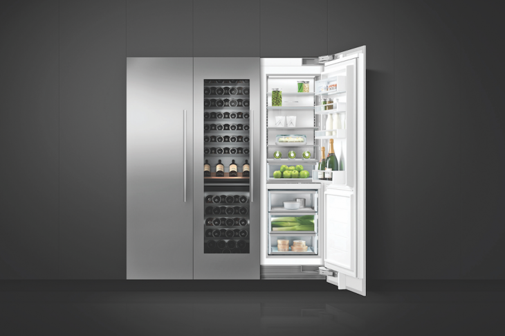 Fisher & Paykel is adding a wine refrigerator to its integrated column appliances. The 24-inch unit accommodates at least 90 bottles and features two independent temperature zones, a stainless steel interior, 12 racks, soft-start LED lighting, and a glass door. IBS Booth C5831.