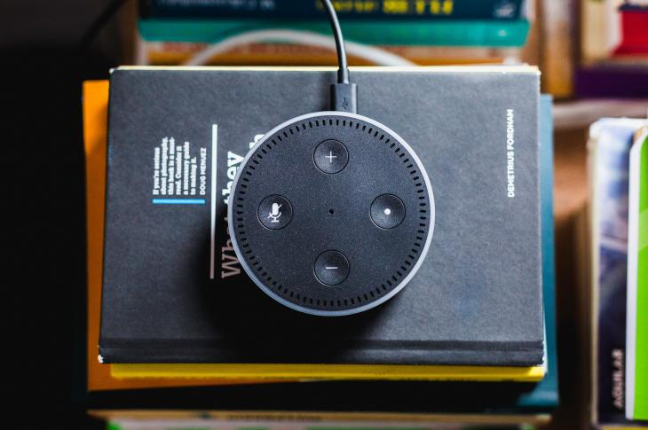 Amazon Echo Dot sitting on pile of books