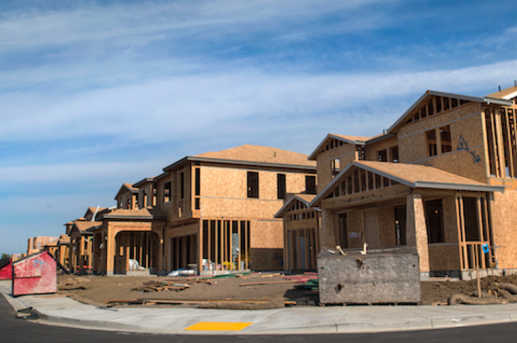 Tract houses being built.