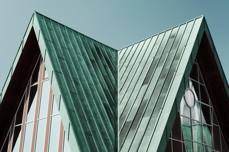 Metal roof on building
