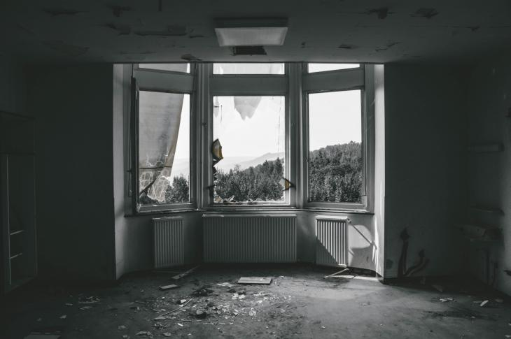 black and white Interior of abandoned house