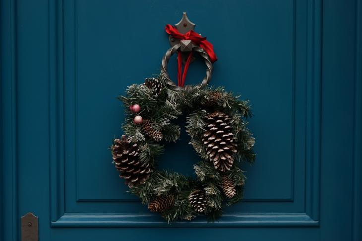Wreath on a blue front door