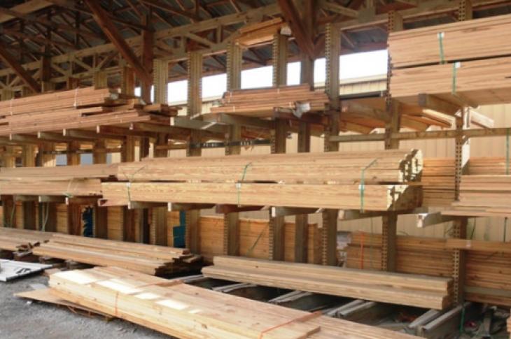 building materials in the lumberyard