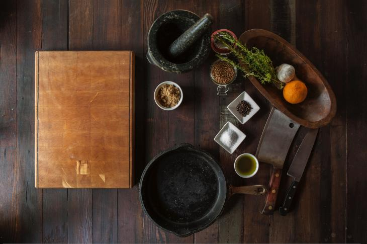 Table with cooking utensils