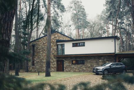 single-family house with car